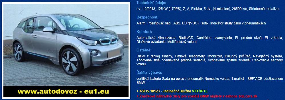 elektromobily bazar bmw i3
