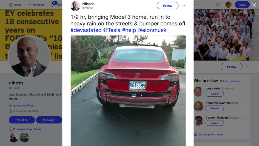 Tesla Model 3: Zadný nárazník môže za silného dažďa odpadnúť