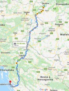 mapa cesta do Chorvatska elektromobilom