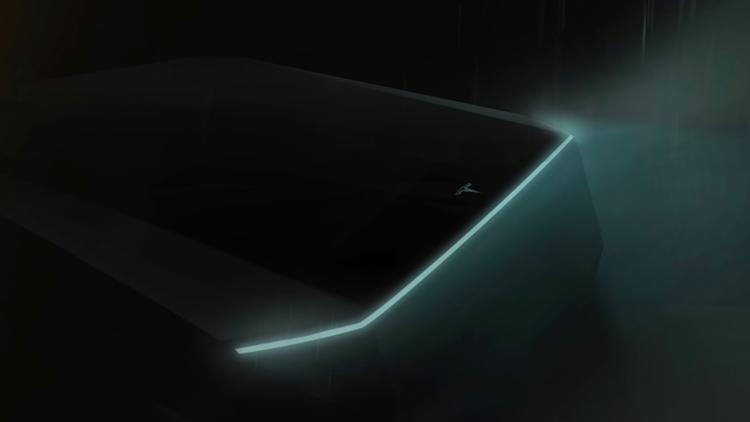 LED svetelná lišta Tesla pickupu - oficiálna vizualizácia