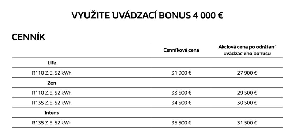 Renault zoe cena uvadzaci bonus