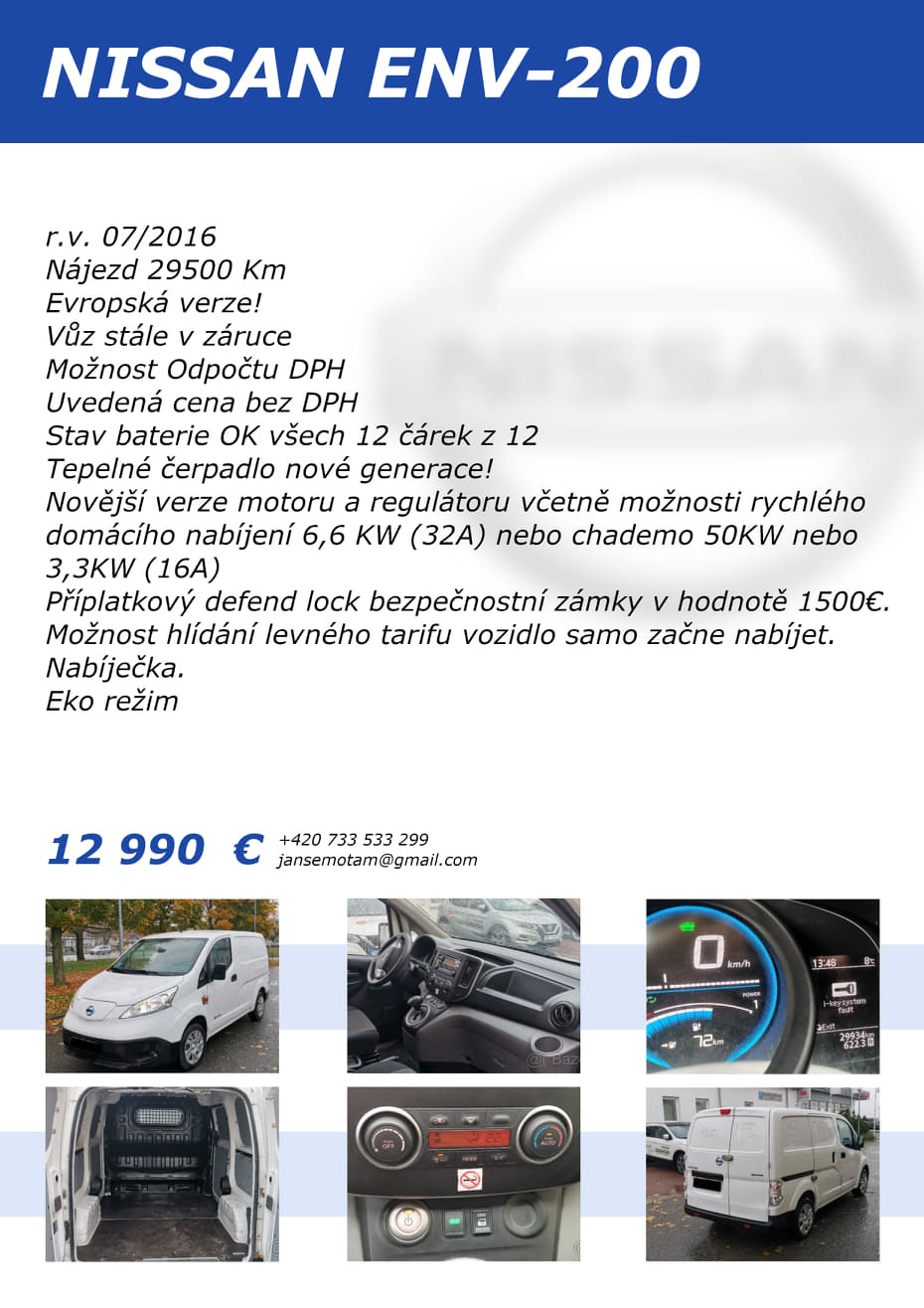 Nissan e-NV200 - 12 990€ bez DPH