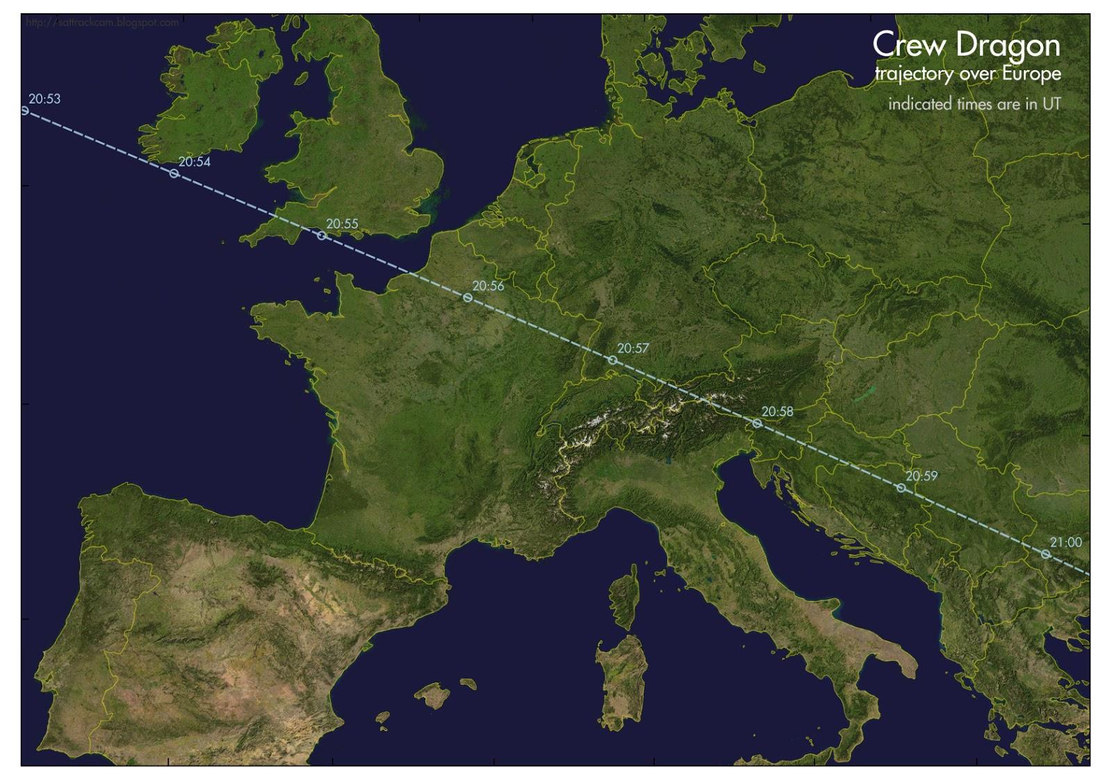 Trajektória SpacX Crew Dragon nad Európou