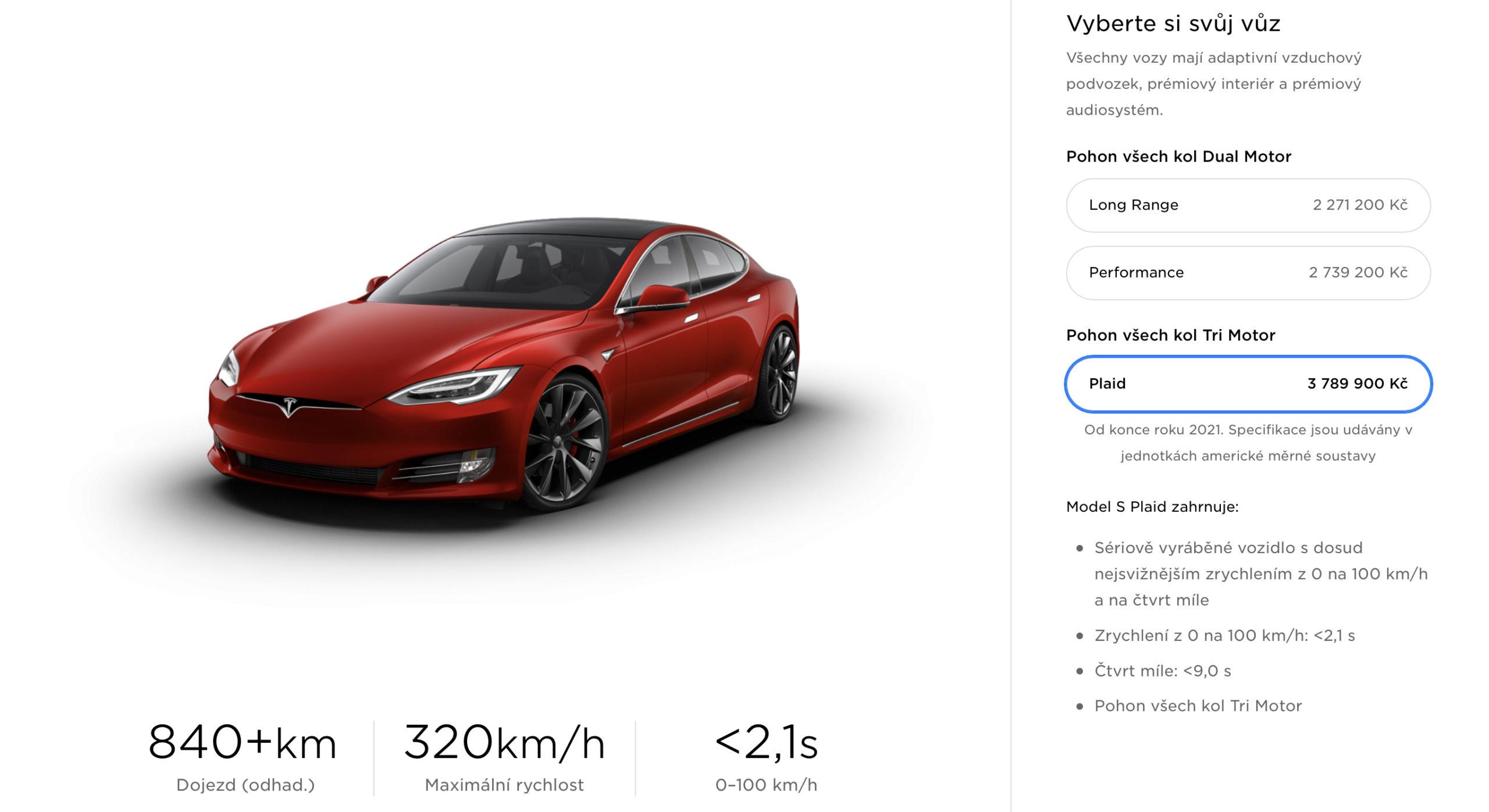 Tesla Model S Plaid - Česko (Zdroj: Tesla)