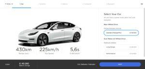 Slovenský konfigurátor 2021 Tesla Model 3