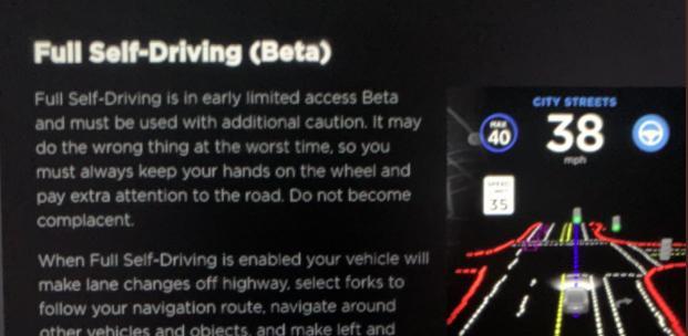Tesla Full Self Driving Beta (Zdroj: Twitter/@teslaownersSV)