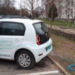 Nabíjanie elektromobilov zo stĺpov verejného osvetlenia Sabinov (Foto: FB/Marek Hrabčák - poslanec)
