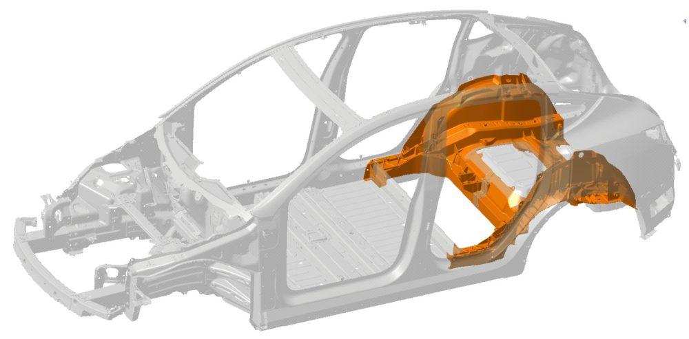 Zadná časť rámu Model Y (Zdroj: Tesla)