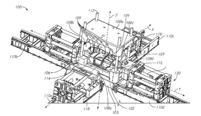 Patent: Gigantický odlievací stroj na výrobu rámov Tesla (Zdroj: Americký patentový úrad USPTO)