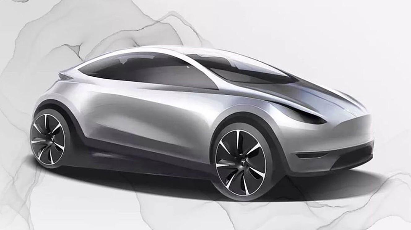 Lacný elektromobil Tesla za 20 000 eur - skica (Zdroj: Tesla China)