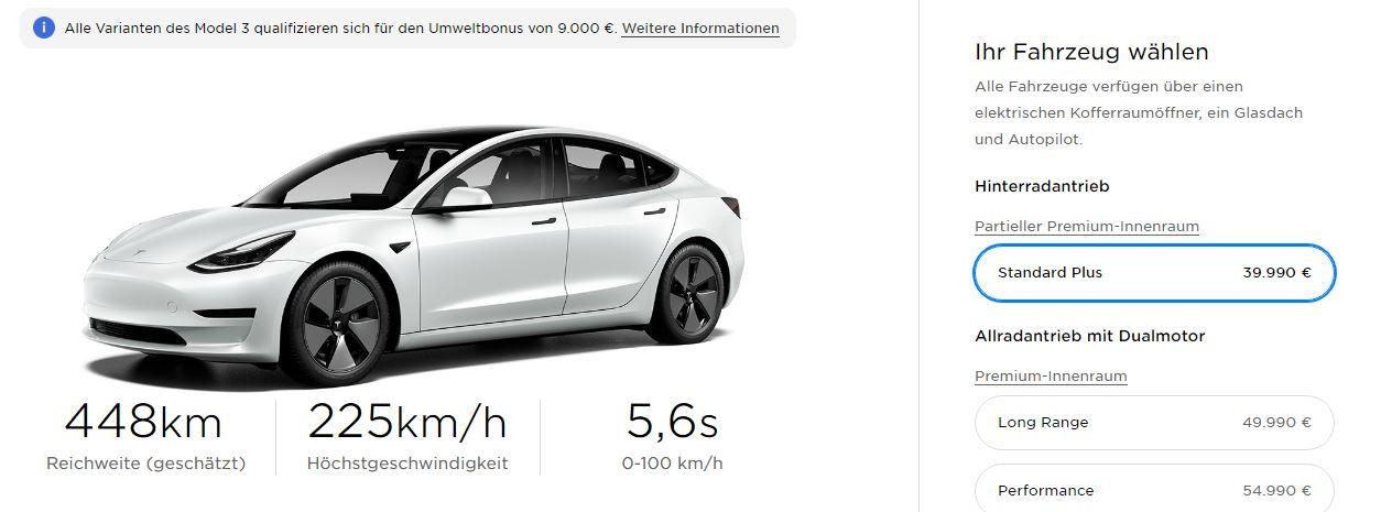 Cena Tesla Model 3 Standard Range Plus (Zdroj: Tesla)