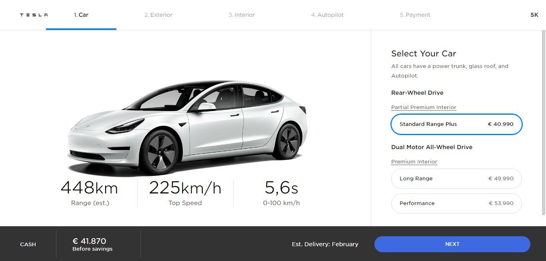 Slovenské ceny Tesla Model 3 Standard Range Plus (Zdroj: Tesla)