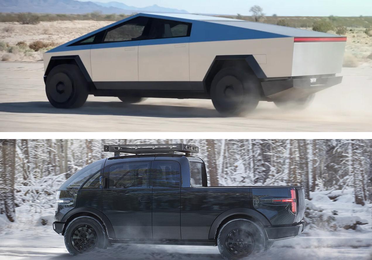 Pickup Canoo vs Tesla Cybertruck (Zdroj: Jalopnik)
