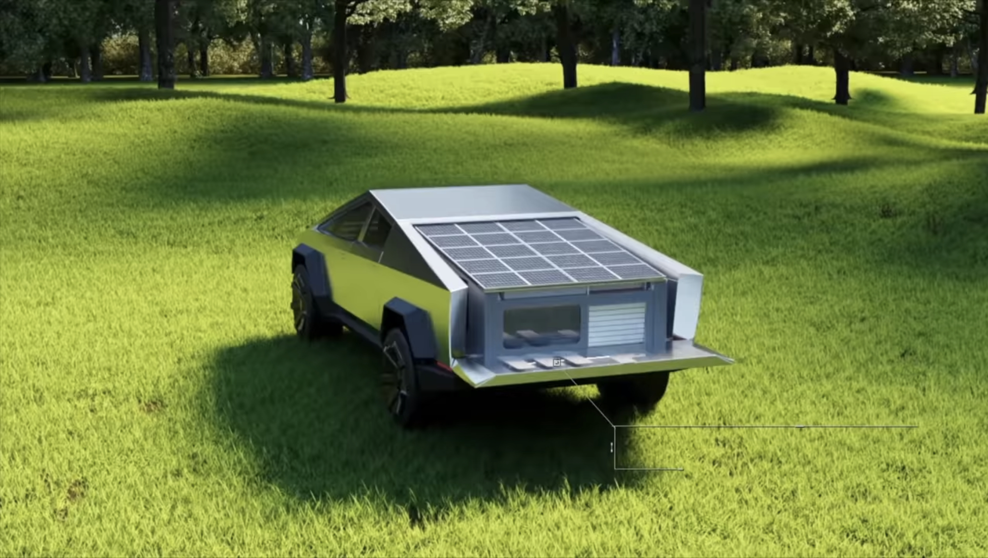 Kempingová nadstavba Tesla Cybertruck (Foto: Cyberlandr)