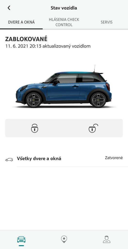 Mini Cooper SE mobilná aplikácia