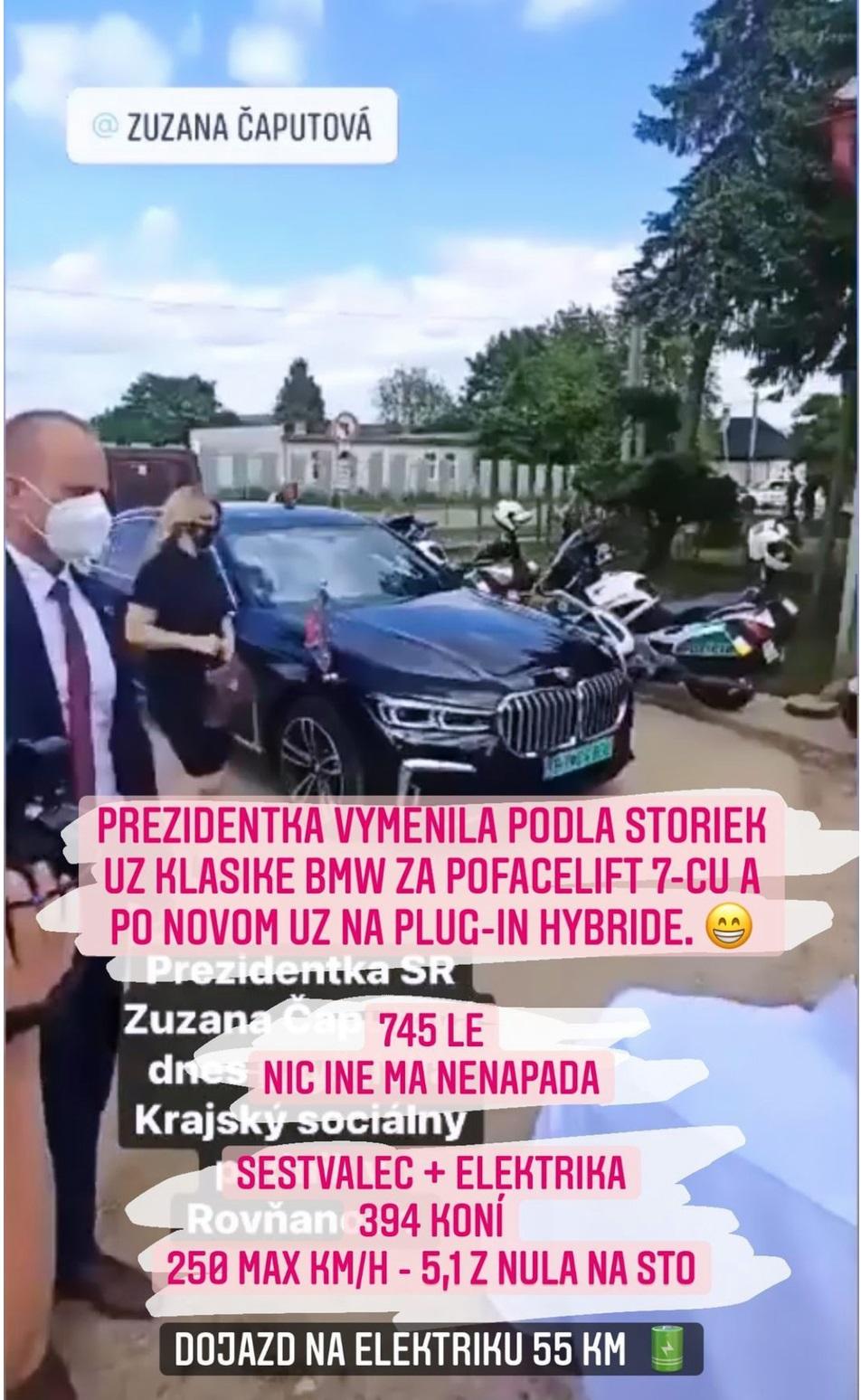 Prezidentka Čaputová na plug-in hybridnom BMW (Foto: IG/@draho)